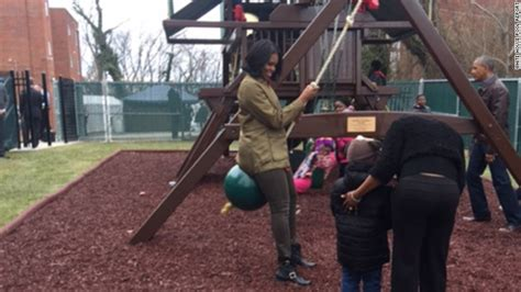 swing dc obamas visit swing set they donated to dc shelter