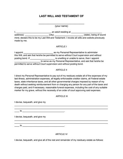 template for wills last will and testament sle