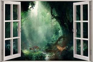 Wall Decals Murals Wallpaper Huge 3d Window View Fantasy Bambi Jungle Wall Sticker