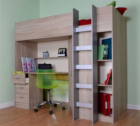 High Sleeper With Desk And Wardrobe by Calder Sonoma Oak High Sleeper With Wardrobe And Desk