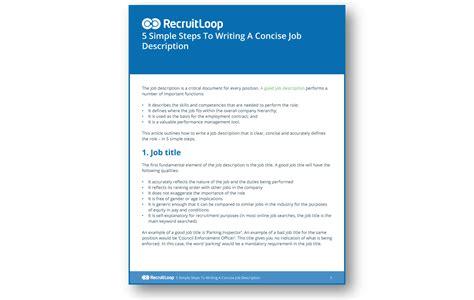 writing a concise description do better hiring the recruitloop