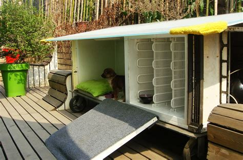 Y town recycles old refrigerator into a dog house for