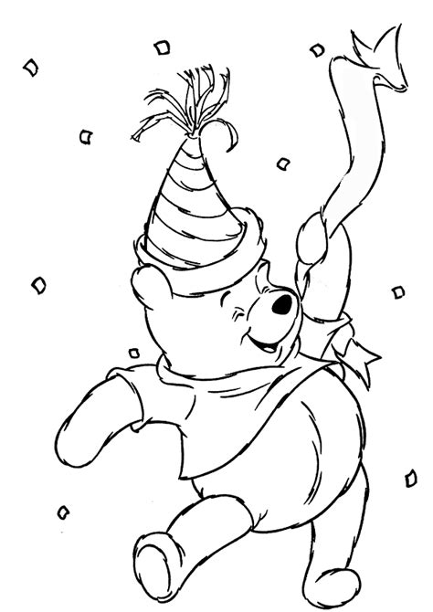 winnie the pooh birthday coloring pages kids coloring pages