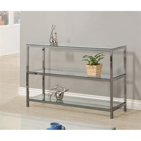 glass and metal sofa table coster metal and glass sofa table in black nickel 720229