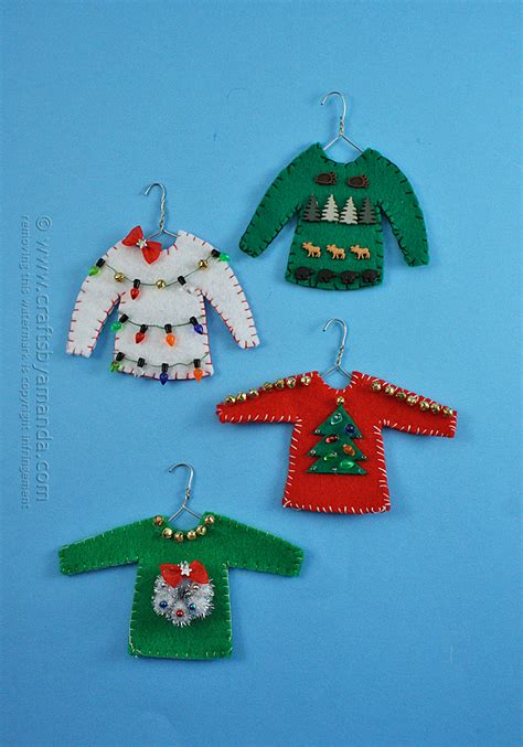 ugly sweater ornaments crafts by amanda