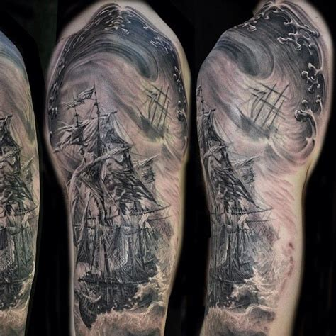 nautical half sleeve tattoos pirate ship sleeve ship