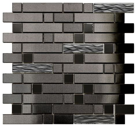 modern tile black stainless with black wave glass mosaic tile modern