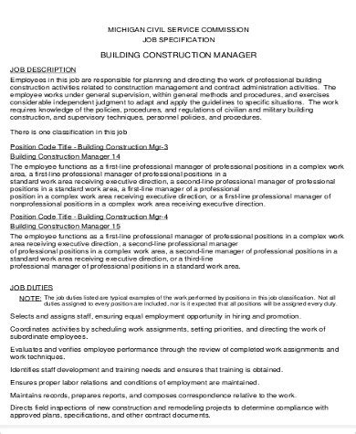 Construction Administrator Description by Construction Manager Description Sle 7 Exles In Word Pdf