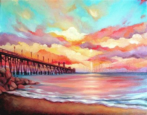 watercolor tutorial beach colorful beach landscape sunset acrylic painting print