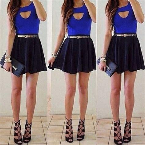 pin skirt blue shirt wheretoget on