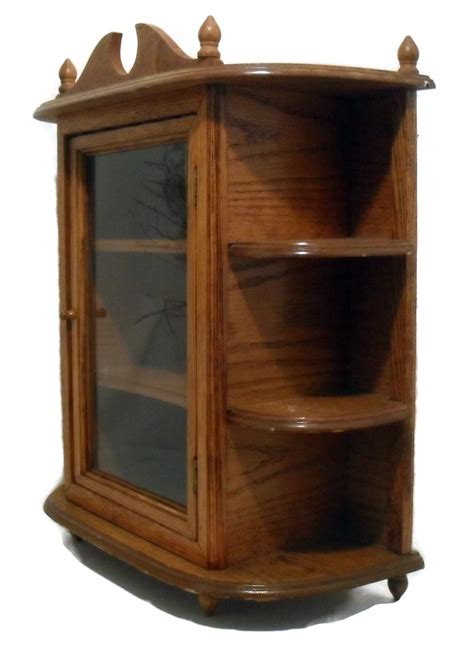Oak Wall Display Cabinet by Wood Oak Vtg Display For Miniatures Curio Cabinet
