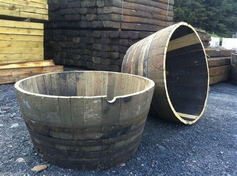 Wooden Half Barrel Planters by Oak Wooden Half Whiskey Barrel Herb Flower Planter Pot