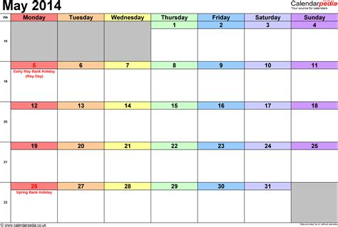 2014 May Calendar Calendar May 2014 Uk Bank Holidays Excel Pdf Word Templates