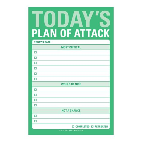 Knock Knock Today S Plan Of Attack Great Big Sticky Notes Sales Attack Plan Template