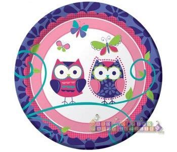 Patchwork Owl Supplies - patchwork owl small paper plates 8ct owl themed