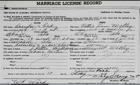 Jefferson County Al Marriage Records Marriage Douglas Ford And Nettie Lou Motley 1942 Alabama Families And Marriage