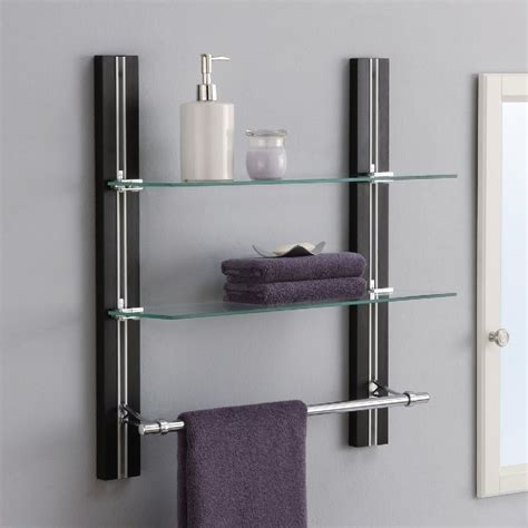 Bathroom Towel Shelves Bathroom Shelves Wall Mounted Wood Towel Rack Adjustable Shelf Storage Organizer Ebay
