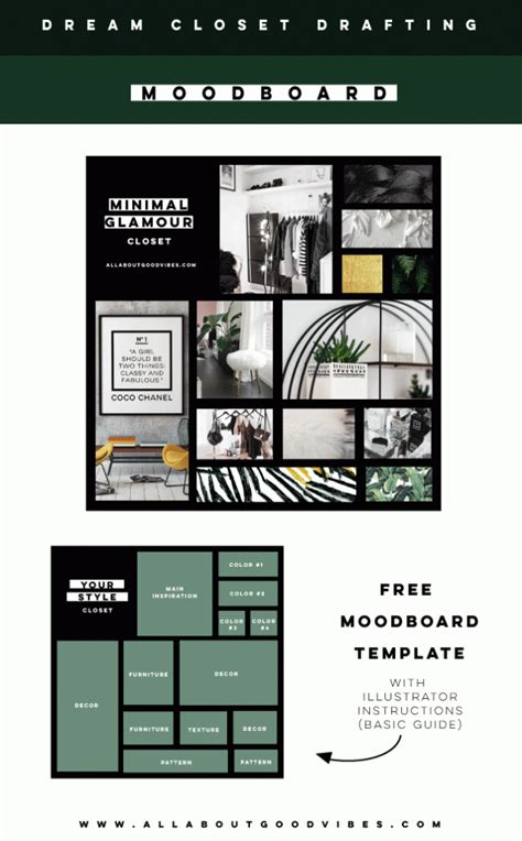 Drafting A Dream Closet With Pinterest Free Downloadable Ai Moodboard Template With Mood Board Illustrator Template