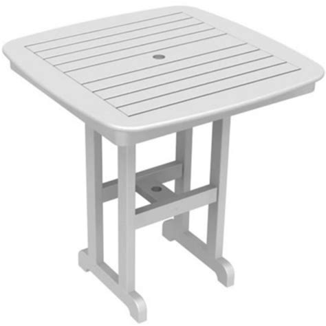 plastic patio table plastic wood nautical square counter height table 37 inch