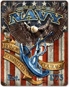 Word Signs Home Decor U S Navy Eagle Vintage Metal Sign