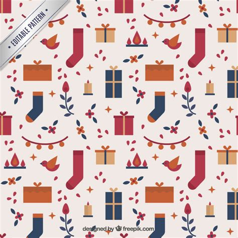 gift pattern vector christmas gifts and socks pattern vector free download