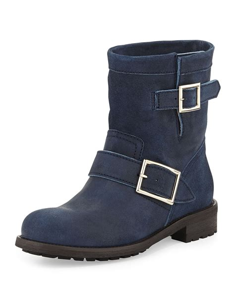 Flat Shoes Tm 07 Suede lyst jimmy choo youth suede biker boot in blue