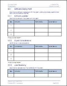 Software Deployment Document Template by Availability Plan Ms Word Template