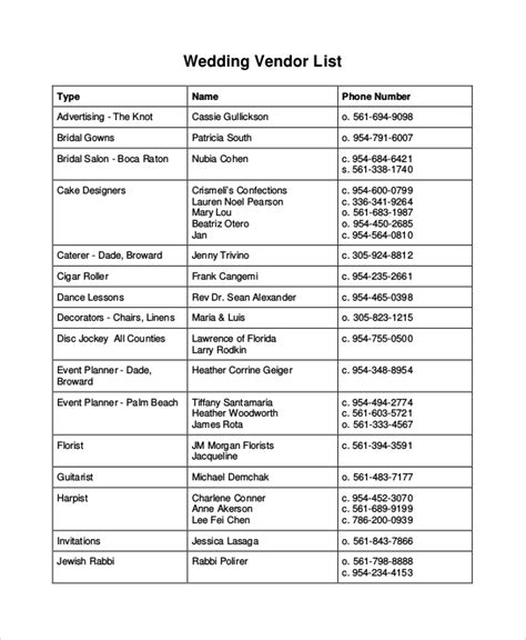 wedding vendor checklist template vendor list template 7 free word pdf document