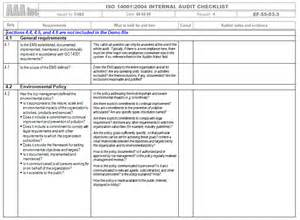 Iso Gap Analysis Template by Iso 14001 2004 Audit And Gap Analysis Checklist