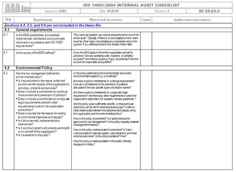 iso  internal audit  gap analysis checklist