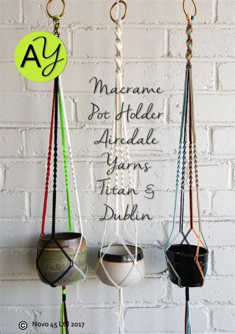 Macrame Pot Holder Pattern - titan polyester cord plant pot holder macrame pattern