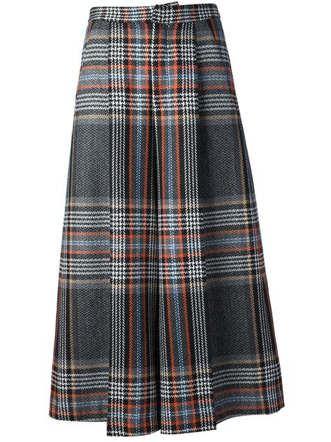 msgm pleated tartan skirt in multicolor grey lyst