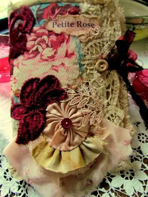 shabby chic silk rose fabric journal fabric and lace
