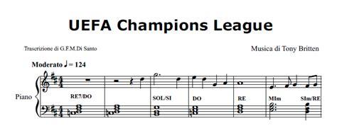 Tutorial Piano Canzoni Facili | spartito pianoforte di uefa chions league tony