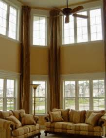 High Window Curtains Drapes Accent The High Ceiling Family Room