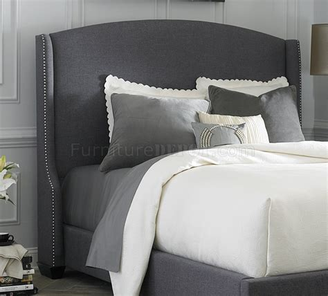 dark grey upholstered bed 150 br upholstered shelter bed in dark grey fabric by liberty