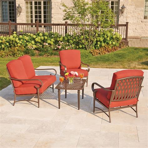 hton bay fenton 4 patio seating set with peacock java patio cushion d9131 4pckd the