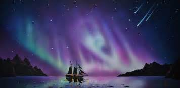 Shower Curtain Whale Aurora Borealis From A Ship Painting By Thomas Kolendra