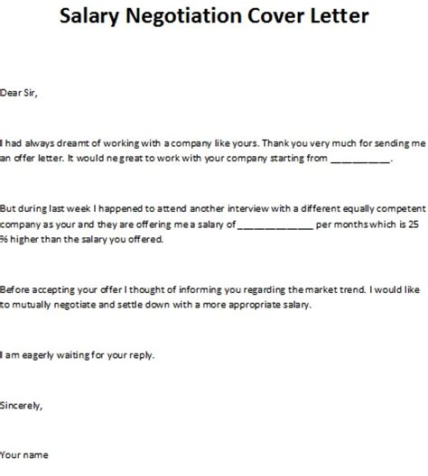 Counter Server Cover Letter by Salary Negotiation Cover Letter