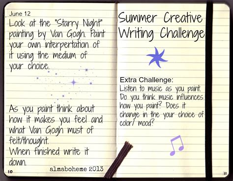 creative writing challenges alma boheme starry creative writing challenge for