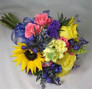 Blue and yellow sunflower prom flowers