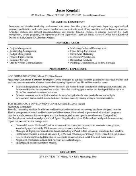 Advertising Consultant Sle Resume by Marketing Consultant Resume Http Jobresumesle 550 Marketing Consultant Resume