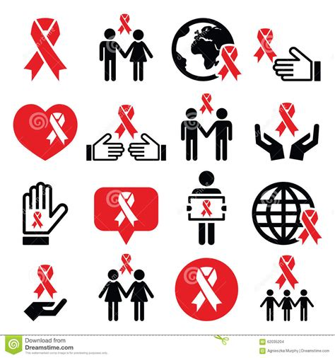 designing women aids world aids day icons set red ribbon symbol stock vector