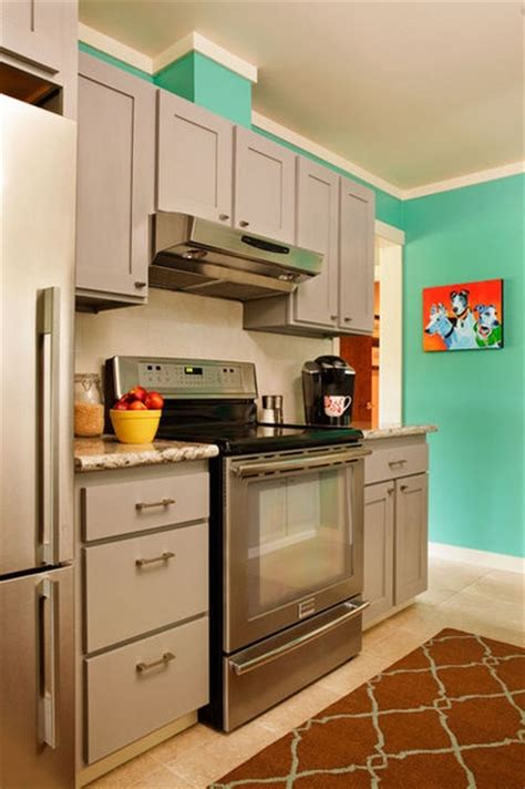 gray cabinets aquaturquoise walls kitchen inspirations