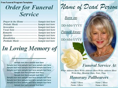 template for a memory card for a funeral free funeral program templates on the