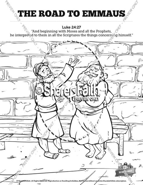 coloring page of jesus on the road to emmaus luke 24 road to emmaus sunday school coloring pages