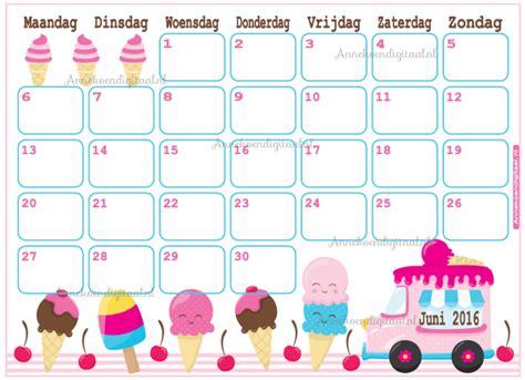 Juni Kalender 2016 Feestelijke Traktaties Printables Sweet Tables
