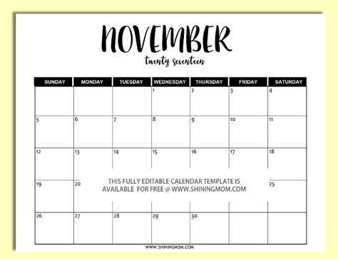 Drive Calendar Template 2017