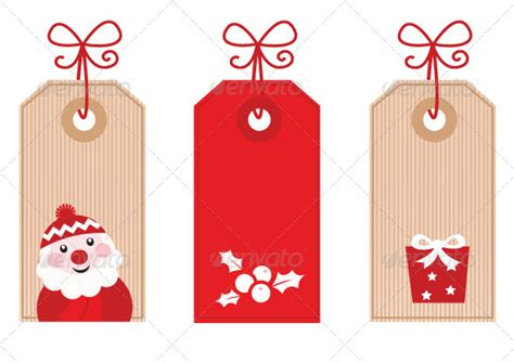 retro christmas gift tags or labels red by beeandglow
