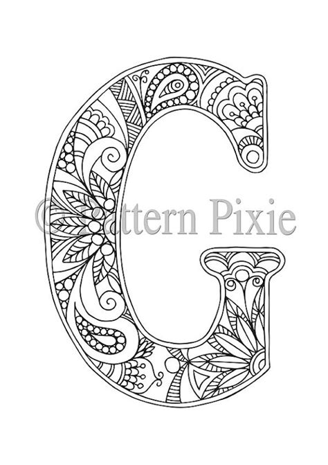 coloring pages for adults letters adult colouring page alphabet letter g letter love